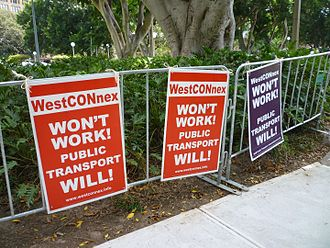WestConnex - Protest sign accompanying public demonstration in Hyde Park, Sydney (March 2016)