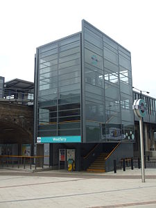 Westferry DLR stn northeast entrance new.JPG