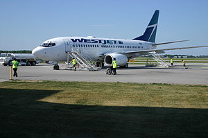 Region of Waterloo International Airport - A WestJet 737-700 plane at YKF