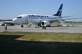 Region of Waterloo International Airport - A WestJet 737-700 plane at YKF