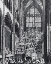 The chorus, orchestra and organ in Westminster Abbey, London during the Handel Commemoration in 1784 (Source: Wikimedia)
