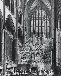 The chorus, orchestra and organ in Westminster Abbey, London during the Handel Commemoration in 1784 Westminster-Handel-Commemoration-1784.png