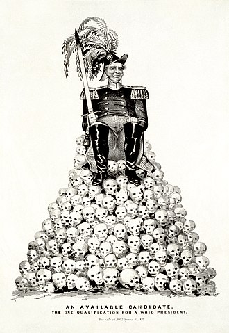 "Whig Party (United States) - ""An Available Candidate: The One Qualification for a Whig President""—a political cartoon about the 1848 presidential election that refers to Zachary Taylor or Winfield Scott, the two leading contenders for the Whig Party nomination in the aftermath of the Mexican–American War (published by Nathaniel Currier in 1848, digitally restored)"
