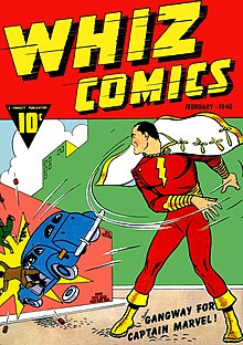 Comic-book cover with a caped, red-costumed Captain Marvel throwing a car into a wall