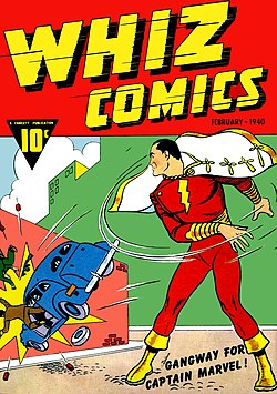 Whiz Comics #2 (Feb. 1940), the first appearance of Captain Marvel. Cover art by C. C. Beck.