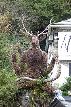 Wicker Horned God outside the Museum of Witchcraft and Magic.jpg