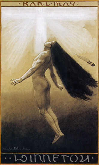 Winnetou - Winnetou's Death or Winnetou's Ascension, cover of Winnetou III by Sascha Schneider (1904)