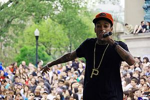 Rapper Wiz Khalifa performing at Columbia Univ...