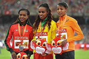 2015 World Championships in Athletics – Women's 1500 metres - Image: Women's 1500 m podium Beijing 2015
