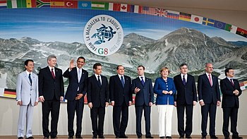 All eight members of the G-8 at their summit i...