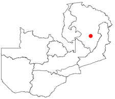 Location of Mpika in Zambia