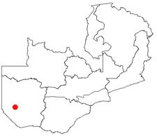 Location of Senanga in Zambia