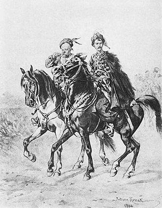 Onufry Zagłoba - Zagłoba (to the left) and Bohun by Juliusz Kossak