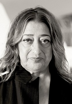 Zaha Hadid in Heydar Aliyev Cultural center in Baku nov 2013 (cropped).jpg