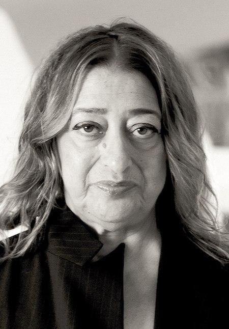 Zaha Hadid in Heydar Aliyev Cultural center in Baku nov 2013 (cropped).jpg