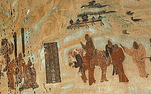 The 138–126 BC travels of Zhang Qian to the West, Mogao Caves, 618–712 AD mural.