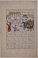 """Alexander Executes Janusiyar and Mahiyar, the Slayers of Darius"", Folio from a Shahnama (Book of Kings) of Firdausi MET sf40-38-1r.jpg"