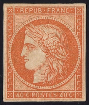 Postage stamps and postal history of France - An 1849 stamp of France.