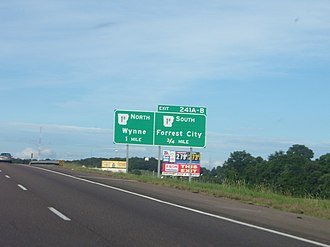 Arkansas Highway 1 - Exit for AR 1B from I-40 in Forrest City