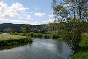 Morteau - The road of Villers-le-Lac (D215) along the Doubs (river).