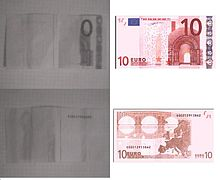 10 euro note picture by a câmera with no IR filter and normal photo for comparison on the right.
