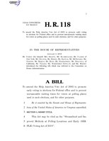 116th United States Congress H. R. 0000118 (1st session) - Streamlined and Improved Methods at Polling Locations and Early (SIMPLE) Voting Act of 2019.pdf