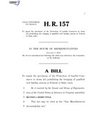 116th United States Congress H. R. 0000157 (1st session) - Gun Manufacturers Accountability Act.pdf