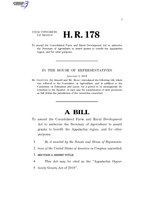 116th United States Congress H. R. 0000178 (1st session) - Appalachia Opportunity Grants Act of 2019.pdf