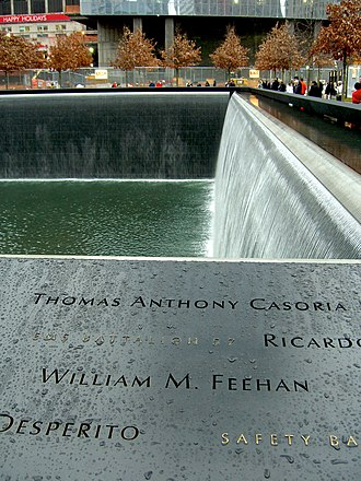William M. Feehan - Feehan's name is located on Panel S-18 of the National September 11 Memorial's South Pool, along with those of other first responders.