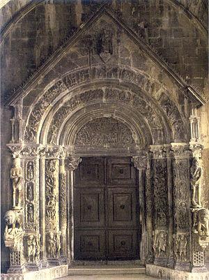 Culture of Croatia - Portal of the Trogir cathedral by sculptor Radovan, c. 1240