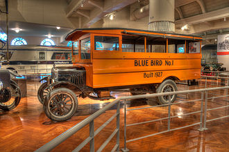 "School bus - ""Blue Bird No. 1"", the first bus constructed by A.L. Luce, founder of Blue Bird Body Company. The oldest known surviving school bus in the United States, it is based on a 1927 Ford Model T chassis."
