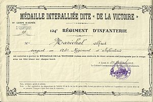 1914–1918 Inter-Allied Victory medal (France) - Attestation paper for inter-allied victory medal