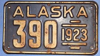 Vehicle registration plates of Alaska - Image: 1923 Alaska Passenger License Plate