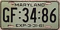 1960-61 Maryland license plate.JPG