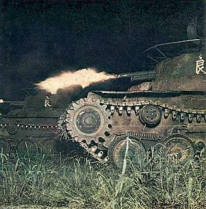 Type 97 Chi-Ha - Type 97 Chi-Ha tanks during a night training exercise