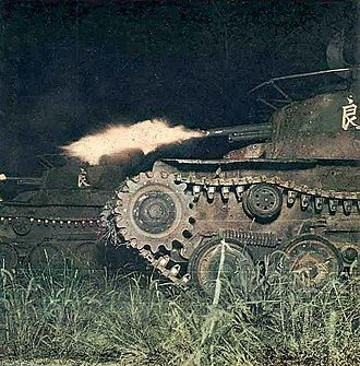Type 97 Chi-Ha medium tank - Type 97 Chi-Ha tanks during a night training exercise