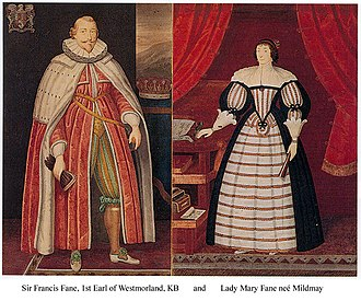 Earl of Westmorland - Francis Fane, 1st Earl of Westmorland, with his wife Mary Mildmay.