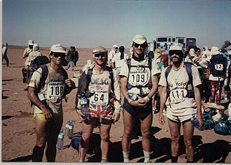 Marathon des Sables - Photo of the first British Runners to complete the Marathon des Sables (Dr Mike Stroud OBE, Rene Nevola, Richard Cooper and Prof Mike Lean).