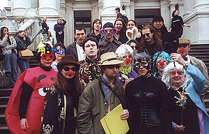 Art intervention - Stuckist artists dressed as clowns intervene at the Turner Prize, Tate Britain, in 2000