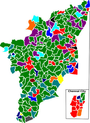 Tamil Nadu Legislative Assembly election, 2001 - Election map of results based on parties. Colours are based on the results table on the left