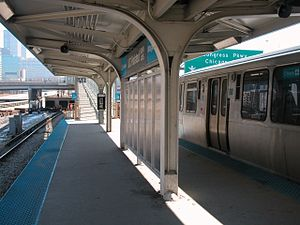 UIC–Halsted station - Looking east toward the ramp to Halsted Street