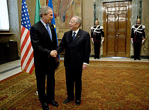 Carlo Azeglio Ciampi - Ciampi meets U.S. President George W. Bush at the Quirinale Palace, April 7, 2005.