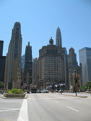 Michigan–Wacker Historic District - Michigan Avenue Bridge and southern part of district