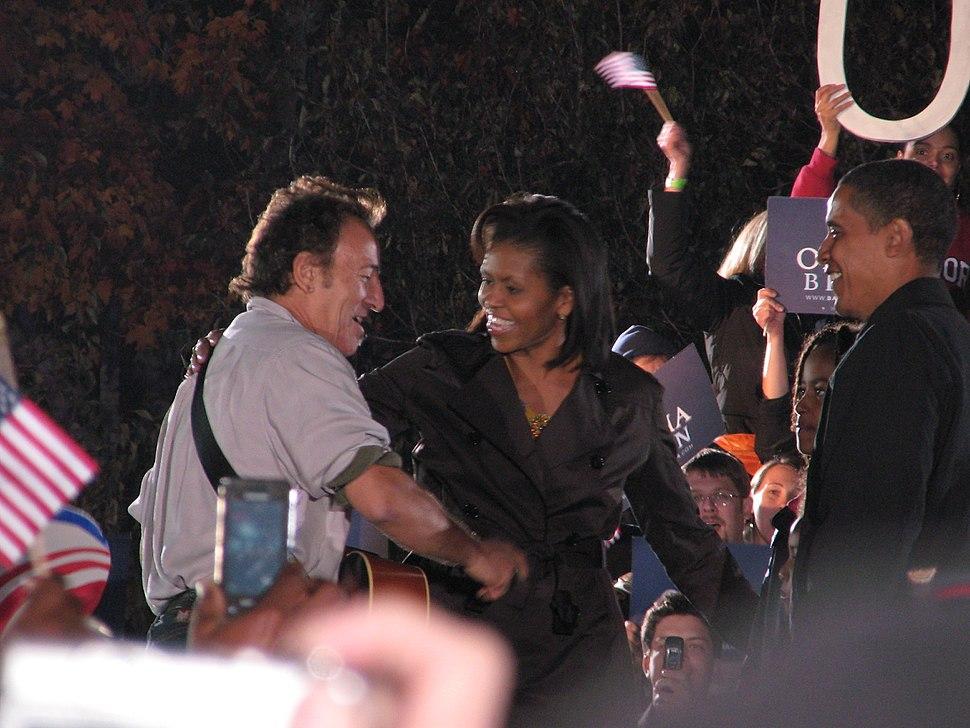 20081102 Bruce Springsteen Michelle and Barack Obama
