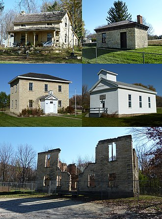 Wasioja Township, Dodge County, Minnesota - The Wasioja Historic District is on the National Register of Historic Places and includes (clockwise from top left) the Andrew Doig House (1858), Civil War Recruiting Station (1855), Baptist Church (1858), Seminary ruins (1858), and Wasioja School (1860).