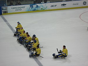 Sweden at the 2010 Winter Paralympics - Sweden's Ice Sledge Hockey team, at the UBC Thunderbird Winter Sports Centre, Vancouver.