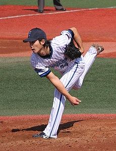 20120401 Yota Kosugi pitcher of the Yokohama DeNA BayStars, at Yokosuka Stadium.JPG