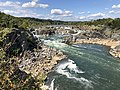 2019-09-07 15 02 29 View north towards the Great Falls of the Potomac River from Overlook 3 about 500 feet downstream of the falls within Great Falls Park in Great Falls, Fairfax County, Virginia.jpg