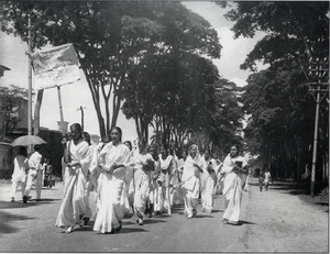 1971 Bangladesh genocide - Female students of Dacca university marching on Language Movement Day, 21 February 1953.