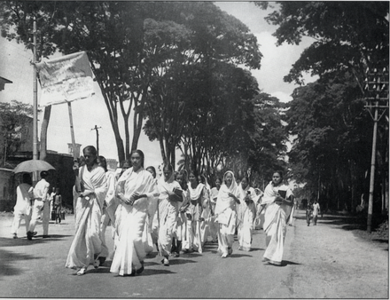 Female students march in defiance of the Section 144 prohibition on assembly during the Bengali Language Movement in early 1953 21 Feb 1953 Dhaka University female students procession.png